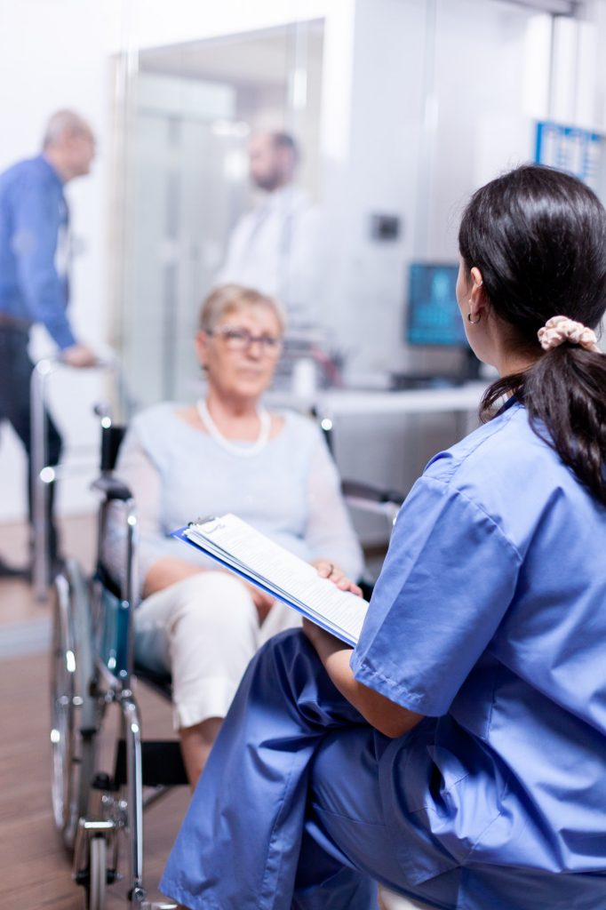 Nurse talking with handicapped